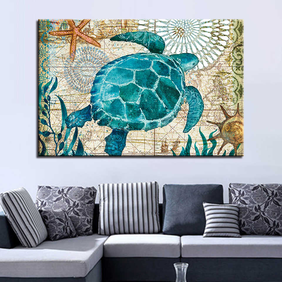 Artwork Poster Canvas Painting 1 Pieces Sea Turtle HD Prints Animal Home Decoration Wall Art Living Room Scenery Modular Picture