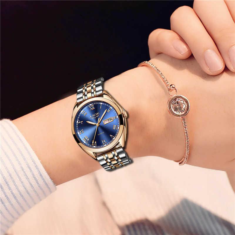 2019 ליגע חדש עלה זהב נשים שעון עסקי קוורץ שעון גבירותיי למעלה מותג יוקרה נקבה שעון יד ילדה שעון Relogio feminino