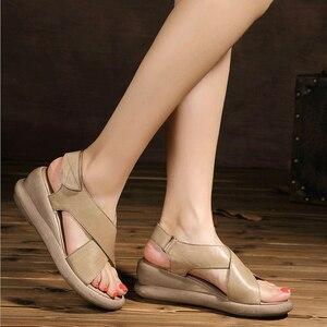 Image 4 - Женские босоножки ручной работы GKTINOO, натуральная кожа, на танкетке, Воловья кожа, высокий каблук, Нескользящие удобные летние сандалии