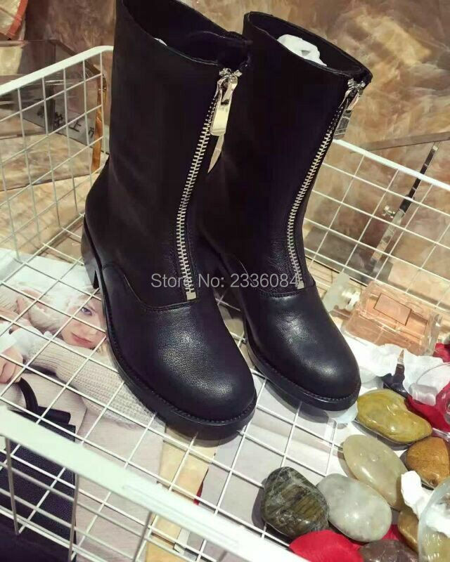 Spring Autumn New Front Or Back Zipper Boots Women Martin Retro Leather Sheepskin Boots Low Heel Fashion Ankle Boots Tide zhen zhou 2017 spring and autumn women s new fashion trend leadership the increased martin boots exemption from postage