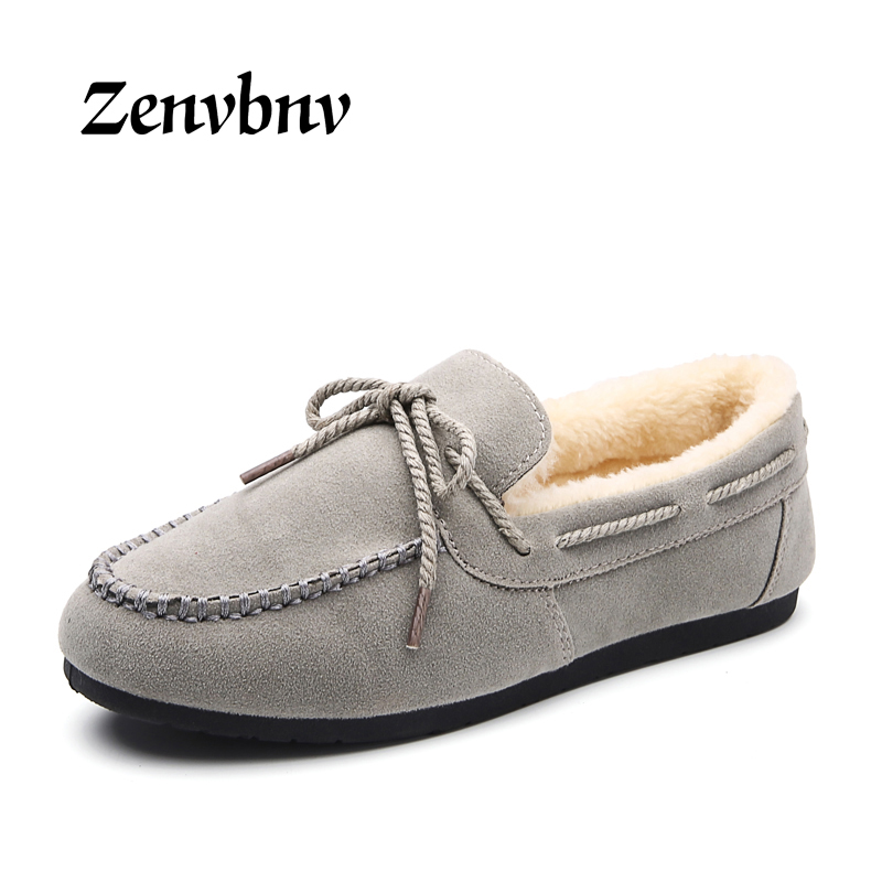 ZENVBNV Women Shoes Warm Moccasins Suede Shoes Woman Bow tie Slip On Female Flats Fur Loafers Plush Winter Boat Shoe loafers timetang casual cow leather women shoes keep warm cotton shoes woman shallow female flats fur loafers plush winter mother c281