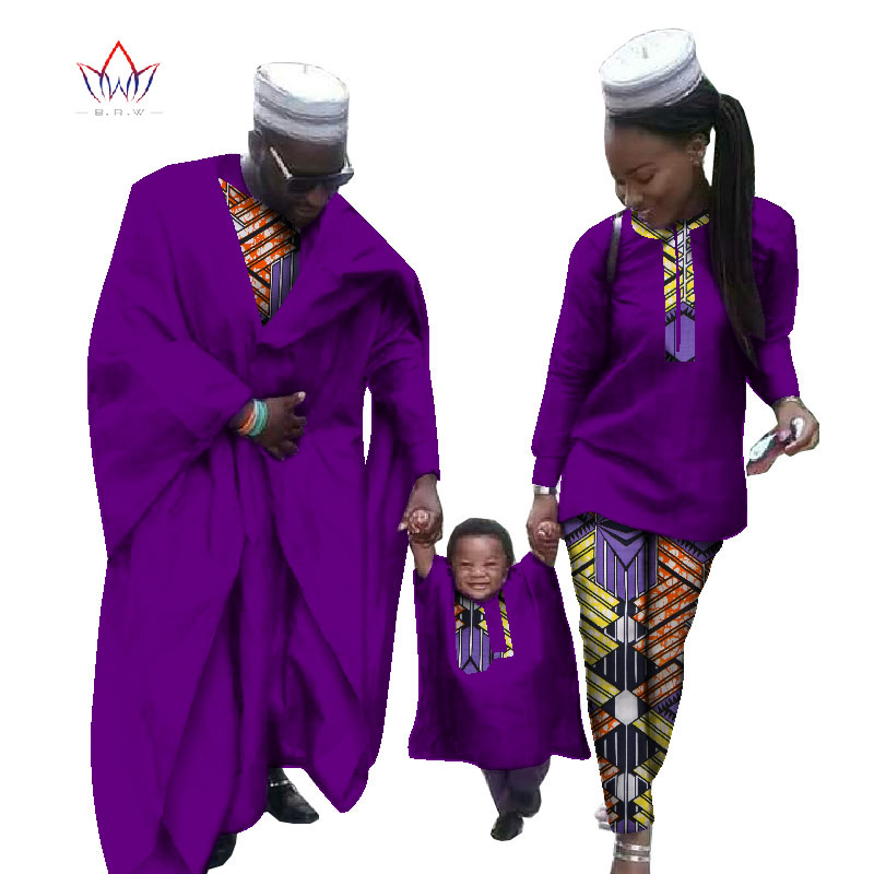 Африка Костюмы 2017 Африканский Dashiki батик отпечатки Африканский Для мужчин халат рубашка Леди пары платье и мальчика халат комплект из 3 пред