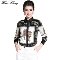 2017 Summer Fashion Women Long Sleeve Shirt Animal Lion Printing White And Black Chiffon Blouse 2xl