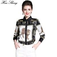 2017 Moda Lato Kobiety Z Długim Rękawem Koszula Zwierząt Leopard Drukowania Biały I Czarny 2xl Szyfonowa Bluzka Kobiet Topy Chemise Femme
