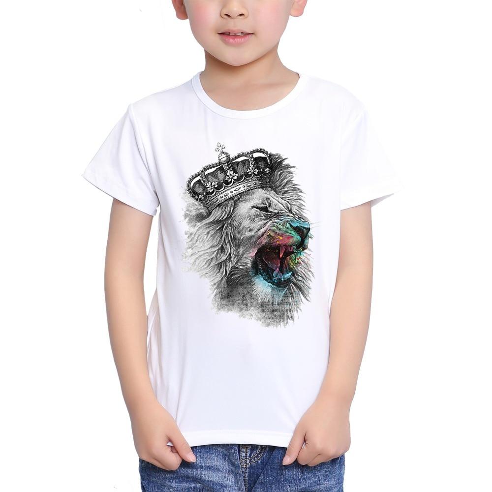 TEEHEART Boys/girlss Modal T-shirt Lion King Wearing a Crown Printed 18M-10T Summer Children Casual Clothing TA371TEEHEART Boys/girlss Modal T-shirt Lion King Wearing a Crown Printed 18M-10T Summer Children Casual Clothing TA371
