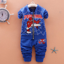 Children Clothing 2016 New Fashion Boy/Girl Cartoon Coat + Pants Spider-Man Boy Baseball Clothing Set Formal Toddler Kid Cloths