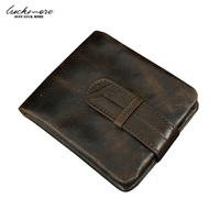 Waxed Genuine Leather Men Wallet With Coin Purse And Zipper Pocket Designer Long Short Male Clutch