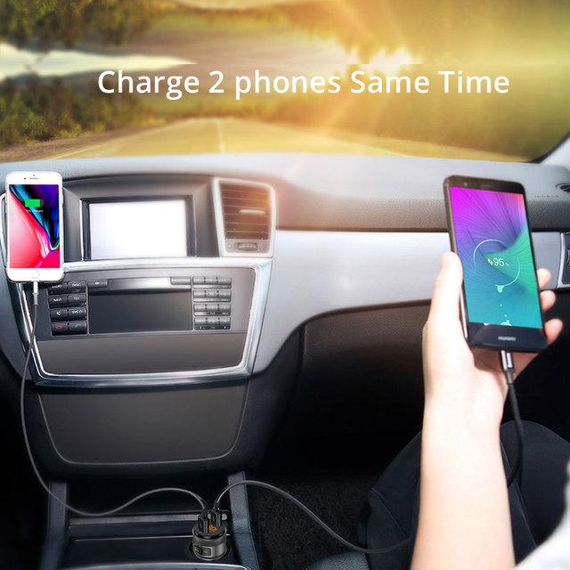 VANJEW C57 Quick charge 3.0 Car Bluetooth FM Transmitter Dual USB Ports Car Charger FM Modulator MP3 Player Car Lighter Handfree