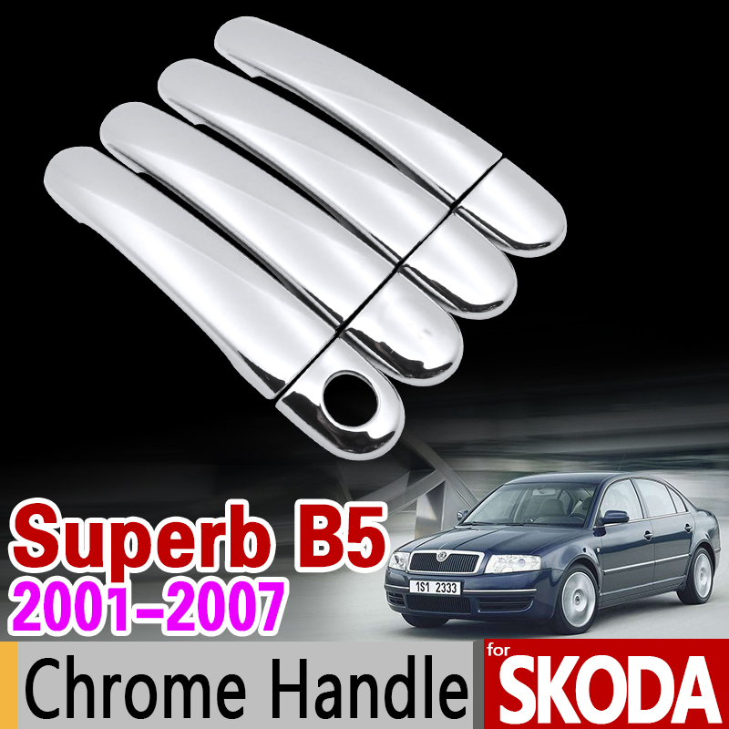 for Skoda Superb B5 2001-2007 Luxuriou Chrome Handle Cover Trim Set 2002 2003 2004 2005 2006 Car Accessories Sticker Car Styling car usb sd aux adapter digital music changer mp3 converter for skoda octavia 2007 2011 fits select oem radios