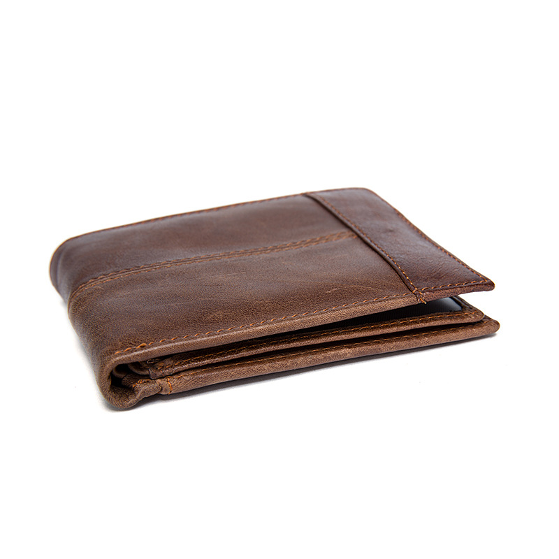 Genuine Leather Men Wallets Short Coin Purse Small Fashion Trifold Wallet Cowhide Leather Card Holder Pocket Purse Moneybag