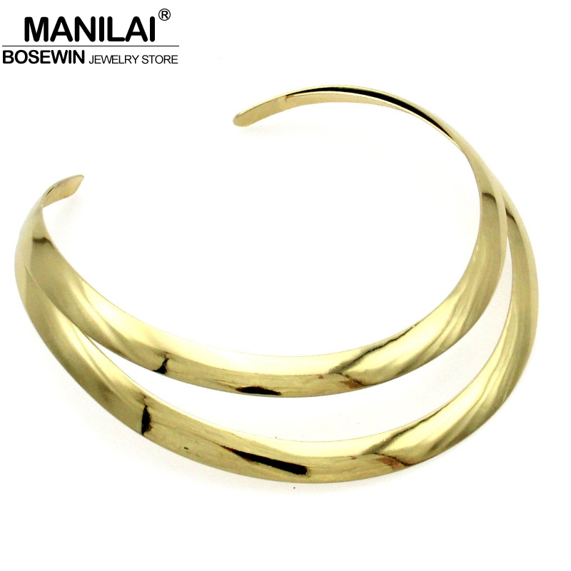 MANILAI Bright Torques Choker Necklace Fashion Alloy Bib Collares Necklaces Women Accessories Statement Jewelry CE2418 manilai trendy metal hollow torque choker necklaces women indian punk geometric collar statement necklace jewelry accessories