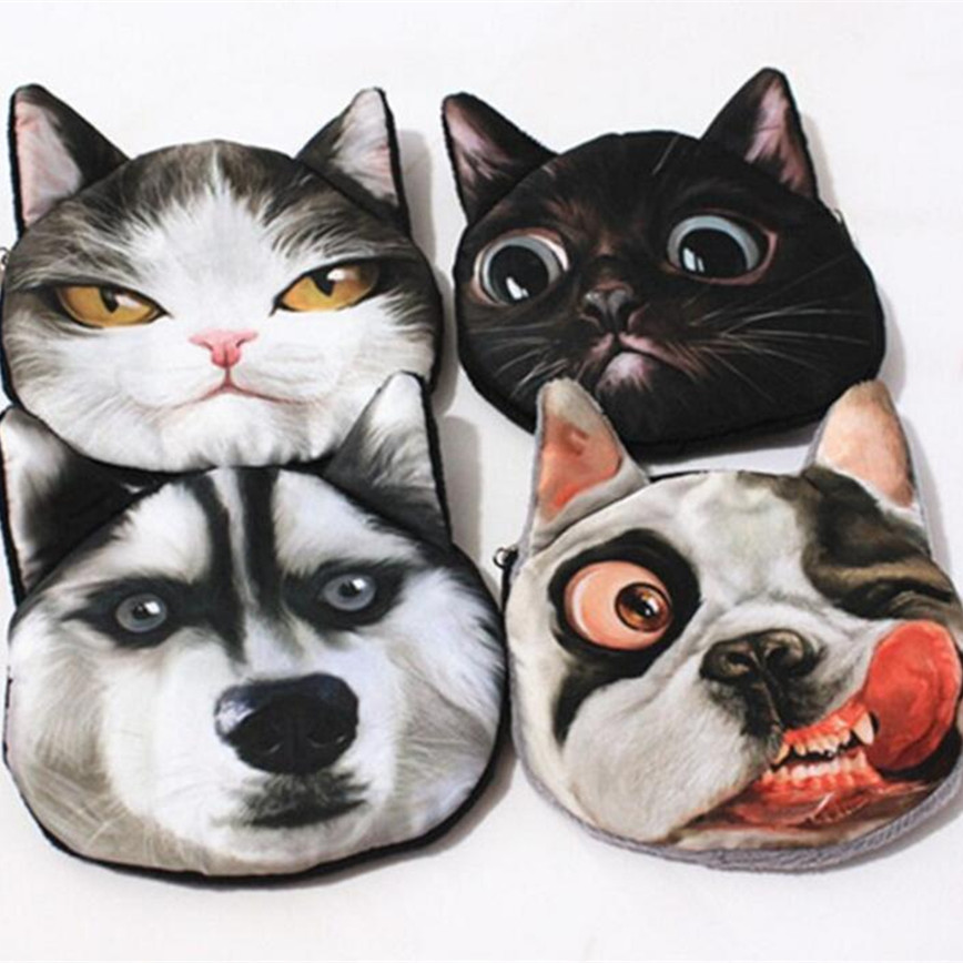 M174 2017 New Women Purses Meow Star Wang Original Personality Husky 3D Creative Zero Coin Bag Wallet Girl Gift Wholesale m215 cute cartoon pets akita dog siberian husky personality plush coin purse wallet girl women student gift wholesale
