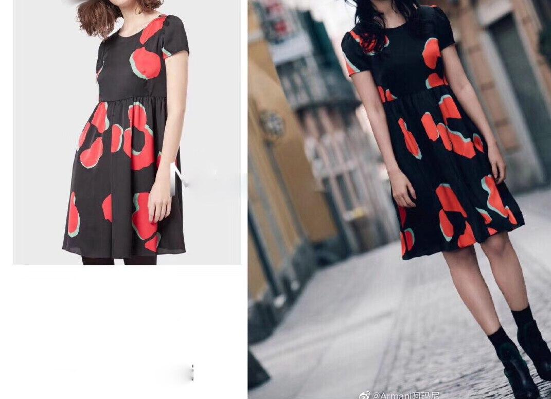 Silk Printed Black & Red Summer Dress Women 2019 Vintage Geometric Sleeveless Knee Length Regular Empire O Neck Free Shipping