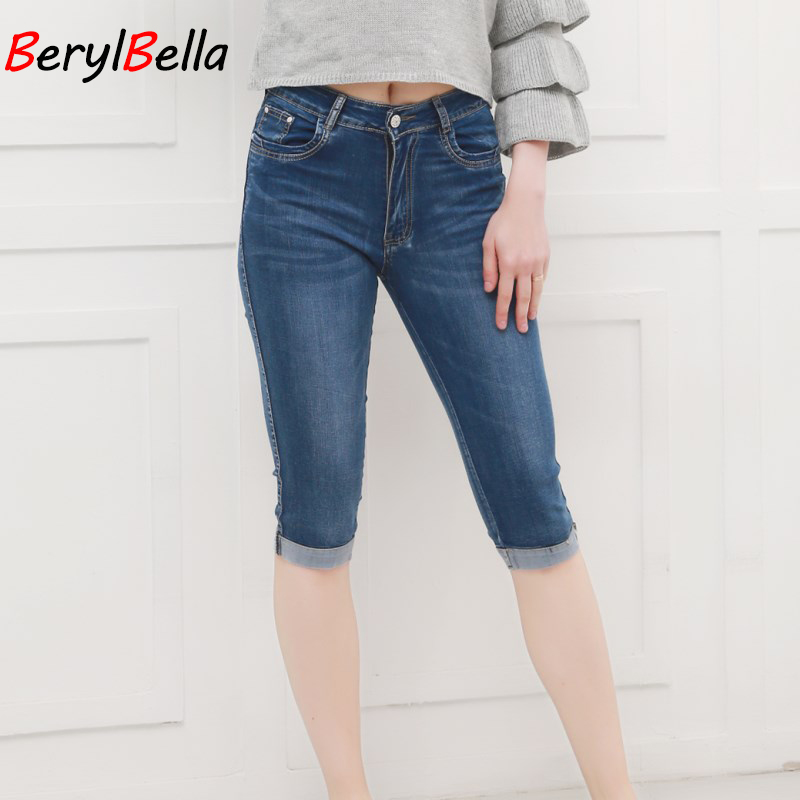 BerylBella Women Summer Jeans Pants 2018 High Waist Cropped Trousers Slim Casual Pantalon Female Denim Capris Plus Size