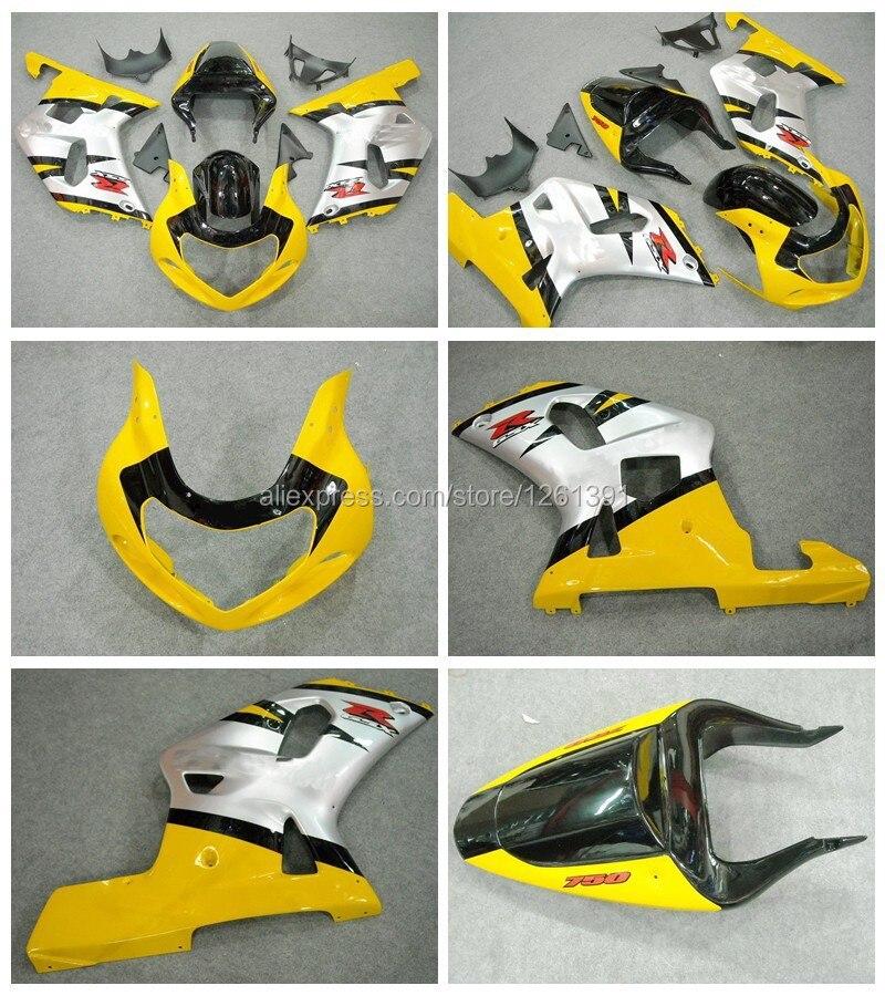 Инжекторный для SUZUKI GSXR600 750 ввиде горшка 01-03 GSX-R600 750 2001-2003 GSXR600 GSXR750 K1 01 02 03 silveryellow тела комплект