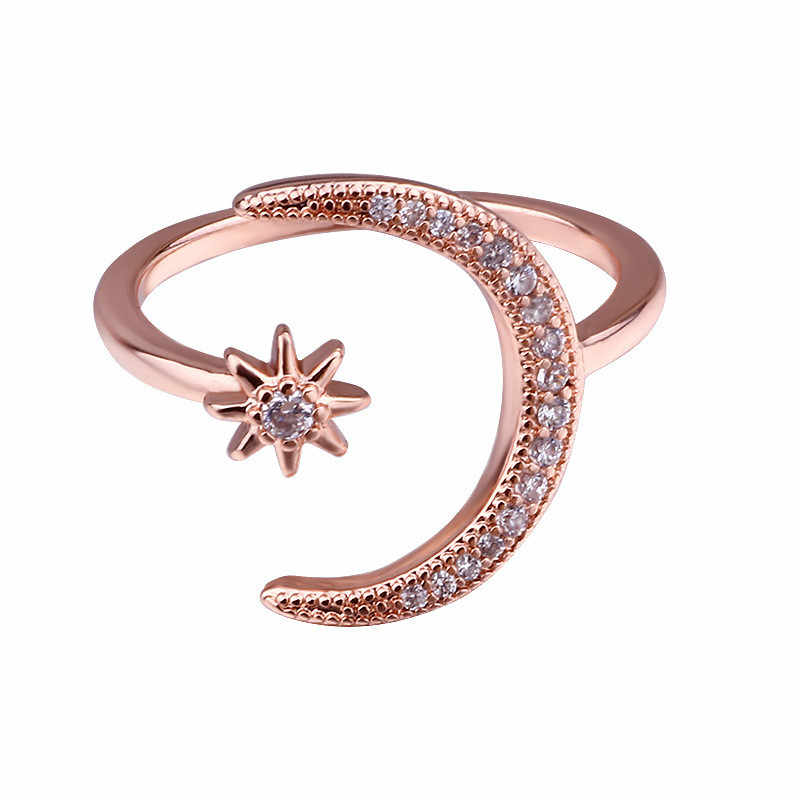 Modyle femme ouverte étoile lune anneaux pour les femmes argent Rose or rempli mignon blanc cristal anneau jalonnement minimaliste bijoux