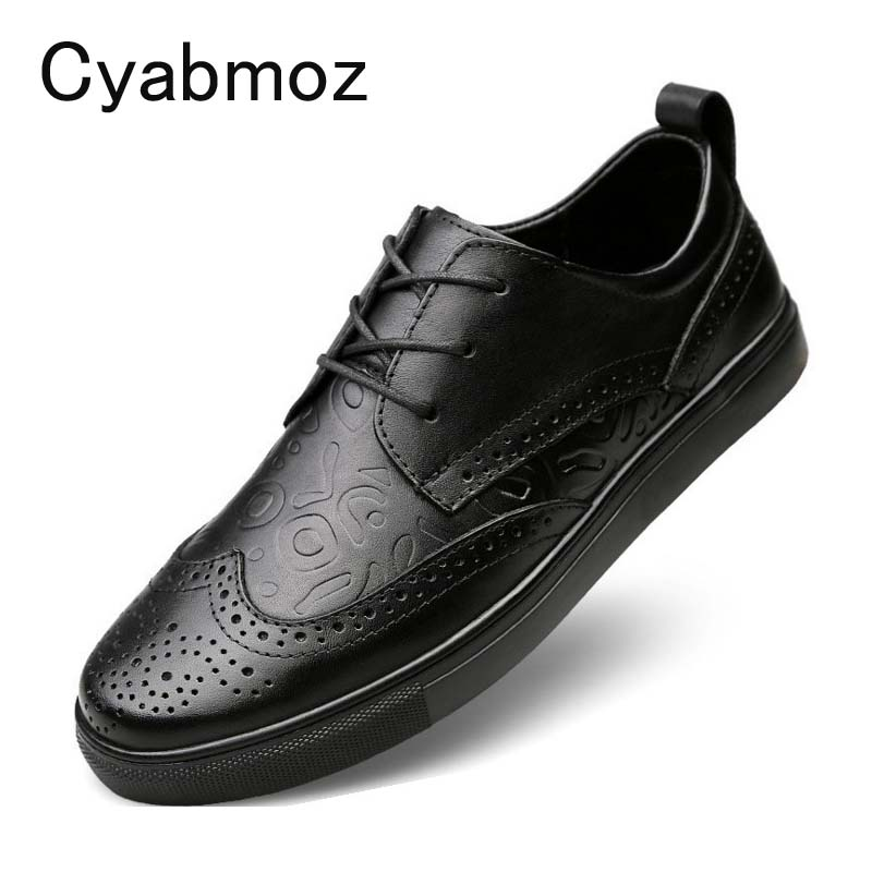 Cyabmoz Genuine Leather Men's Casual Shoes Fashion Male Lace up Flats Breathable British Bullock Oxfords Shoes For Men Big Size cyabmoz plus size 38 47 fashion men shoes breathable casual moccasins men loafers high quality genuine leather shoes men flats