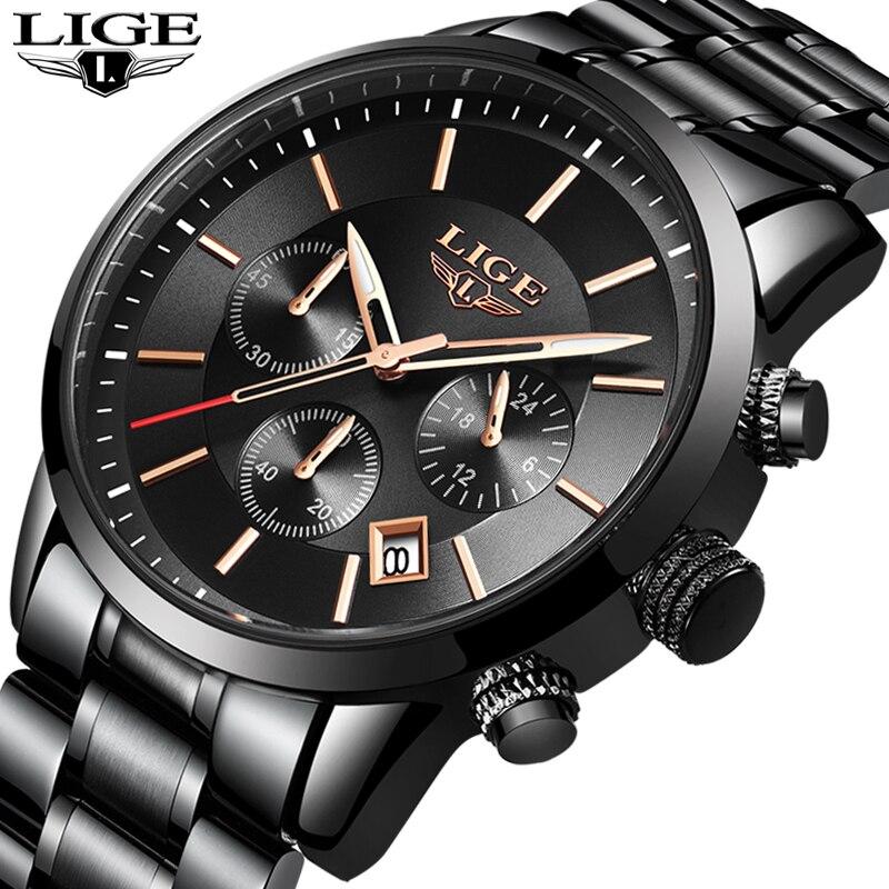 LIGE sport montre analogique Quartz montres hommes Top marque de luxe hommes montres en acier inoxydable étanche montre-bracelet Relogio Masculino