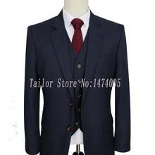 Камвольная шерсть темно-синий индивидуальный заказ мужской костюм смокинг жениха сделанный на заказ Узкий покрой свадебные костюмы для мужчин 3 шт