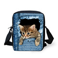 FORUDESIGNS Cute Denim Cat School Bags for Teenage Girls Boys Mini Kids School Bag Small Child Bady Kindergarten Bookbags