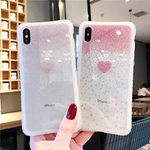 Glitter Love Heart Case For iPhone X XR XS Max Soft Silicone Frosted Translucent Phone 6 6s 7 8 Plus Back Cover