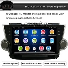 Android 10.2 inch Car Big Monitor Radio Player Stereo Apply to Toyota Highlander GPS Support Wifi BT,Smartphone Mirror-link