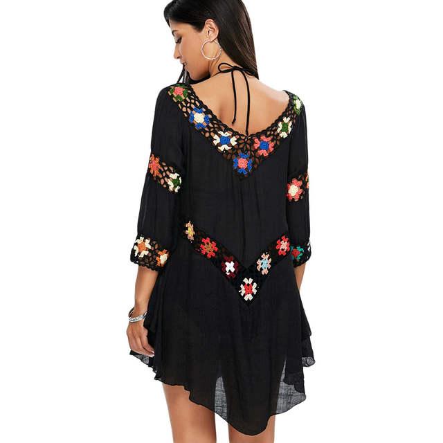3ff65c76b0 Gamiss 2018Floral Crochet Flounce Beach Tunic Dress For Women V Neck 3/4  Length Sleeves Asymmetrical Hems Dresses Vestidos Robes