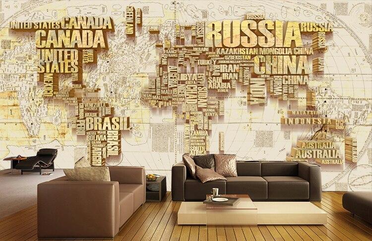 [Self-Adhesive] 3D Country Logo World Map 18 Wall Paper Mural Wall Print Decal Wall Murals