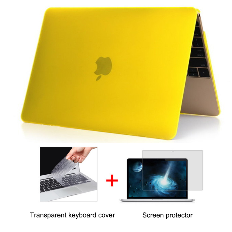 hot Crystal Rubberized Matte Surface Hard Cover Case for Macbook 12 Pro Retina 13 15 Air 11 13 pro 1315 with keyboard cover free shipping gold transparent rubberized matte case hard cover for macbook air pro 11 13 15 with retina display without logo