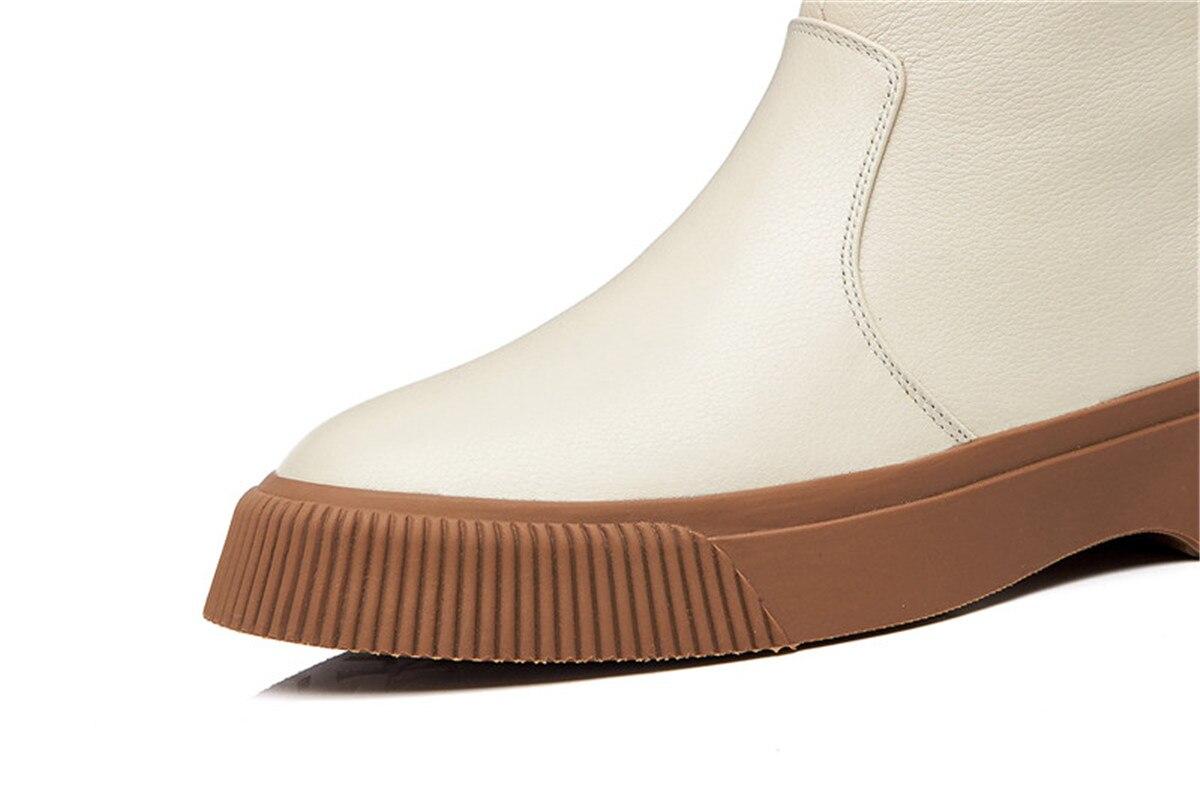 Esrfiyfe Bottes Neige Chaussures Véritable Femme Cheville New Chaud Cuir En 100 D'hiver noir Wedge Australie Femmes De Beige Vache Peau Laine XrwtrCxTq