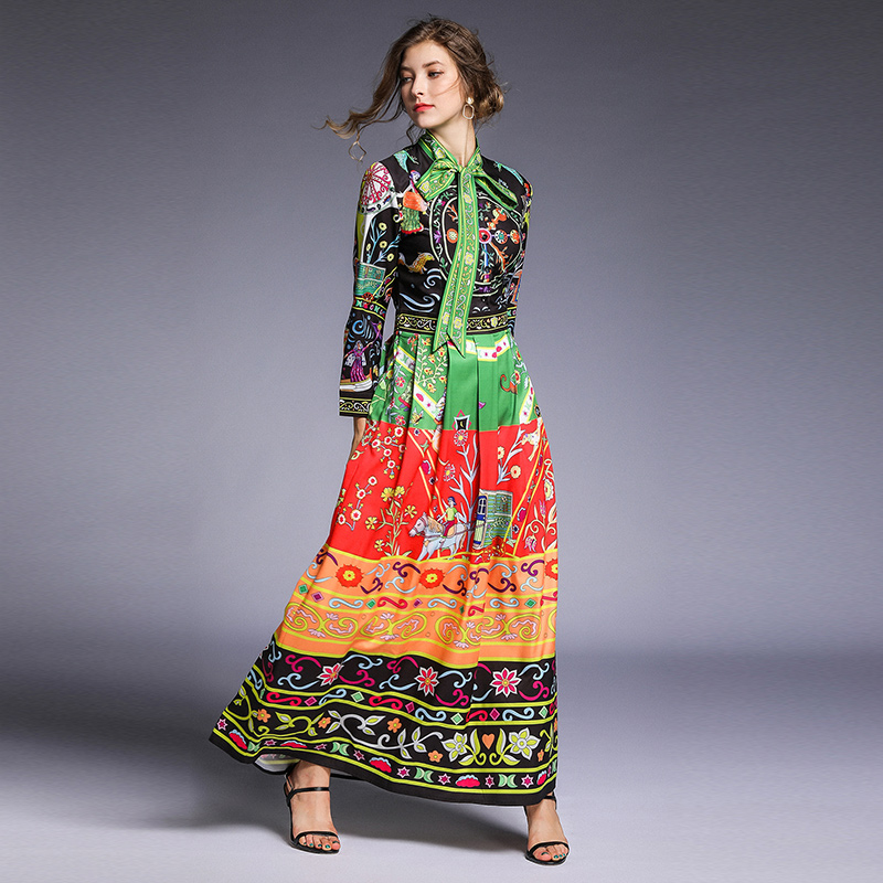Banulin Runway Dresses 2019 Women High Quality Bow Neck Floral Print Holiday Vacation Long Maxi Dress Vestidos Robe Femme in Dresses from Women 39 s Clothing