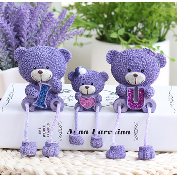 3 pcs set Lavender Bear doll hanging feet family of three home personalized ornaments holiday gift trinkets pernak pernik rumah