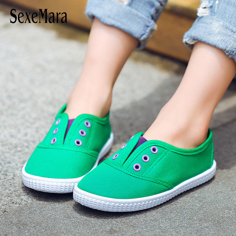 Student School Shoes Canvas Boy Sneakers Summer Flat Shoe 2018 Candy Color Kids Footwear Slip On Children Shoes for Girls B04231