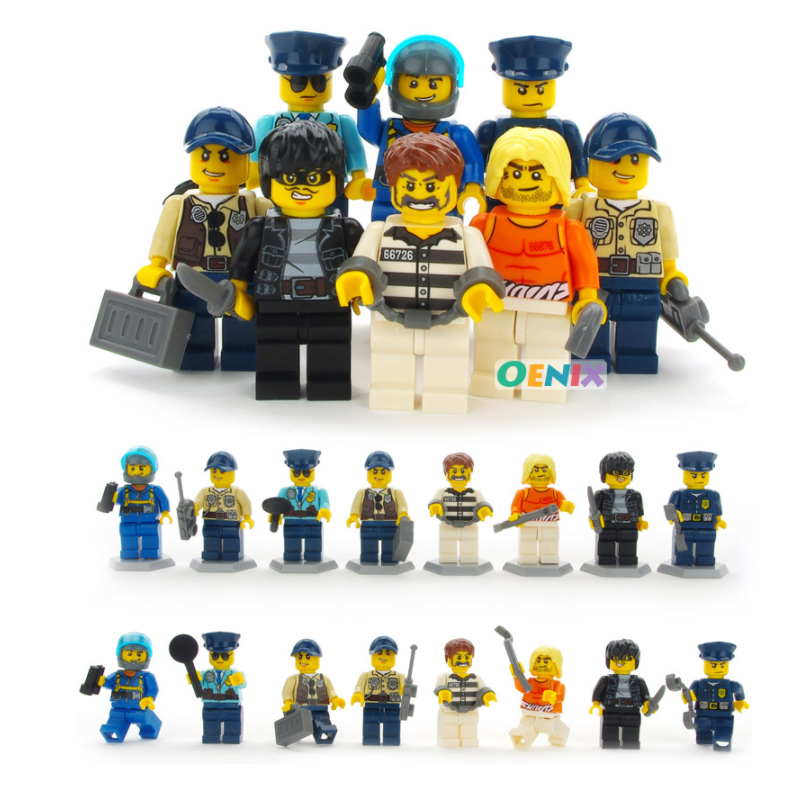 8Pcs/lot LegoINGly Figures Police Man Fireman Magician Teacher Nurse Building Blocks Toys Compatible LegoING City Toy For Kids