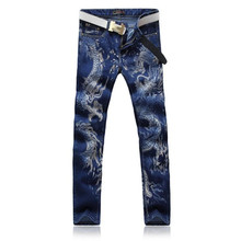 2016 European Mens Straight Jeans Blue Black Fashion Slim Dragon Printing Denim Pants P5088