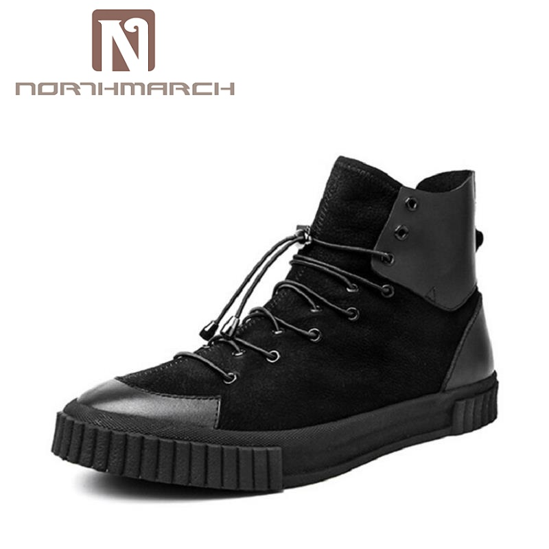 NORTHMARCH Luxury Brand High Top Casual Shoes For Men Leather Lace Up Black Color Mens Shoes Men Black Autumn Zapato Hombre hot sale men s shoes casual shoes for men winter autumn low top patchwork canvas fashion lace up mens classic casual shoes