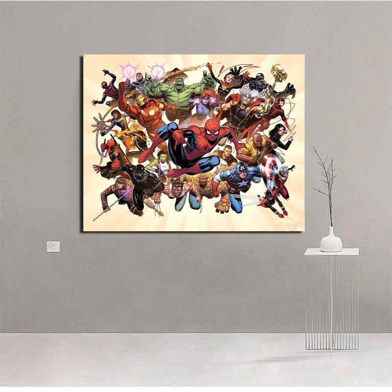 Marvel Comics Character Collection Canvas Painting Print Living Room Home Decoration Modern Wall Art Oil Painting Poster Picture image
