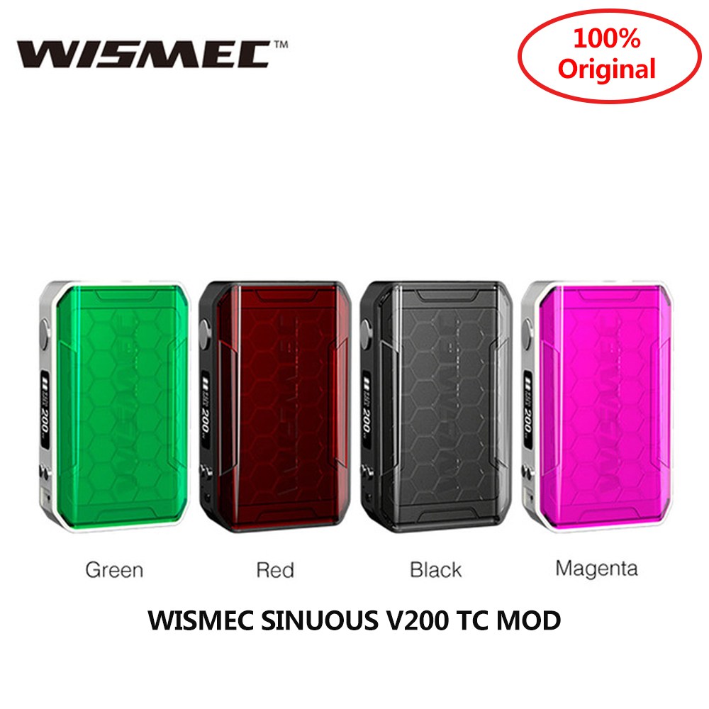 Original WISMEC SINUOUS V200 TC MOD 510 thread 0 91 Inch Screen fit Amor NSE Tank