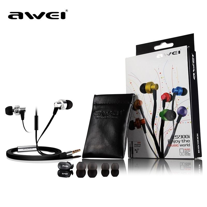 Genuine Awei ES900i Earphone for iphone 5/6/6s IPOD Samsung HTC Xiaomi,Clear Bass with Mic 3.5mm iphone 4 18 900