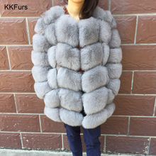 JKKFURS Womens Real Fox Fur Coat Winter Thick Warm Fashion Outerwear Long Overcoat 2019 New Arrivals S7221