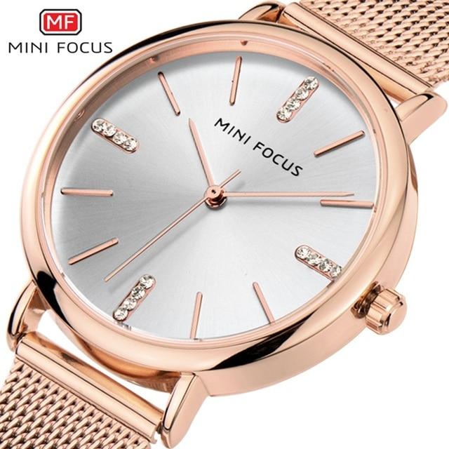 e84a18de352 MINI FOCO Novo 2018 Vestido Top Fashion Mulheres Relógios Famosa Marca  Senhoras Relógio de Quartzo Relógio