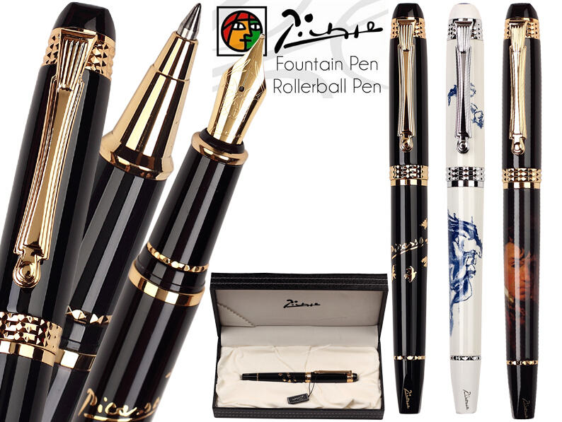 RollerBall pen Fountain Pen M Nib 22kgp Original Box Picasso 926 school and office stationery wholesale 12 pcs/lot Free Shipping italic nib art fountain pen arabic calligraphy black pen line width 1 1mm to 3 0mm