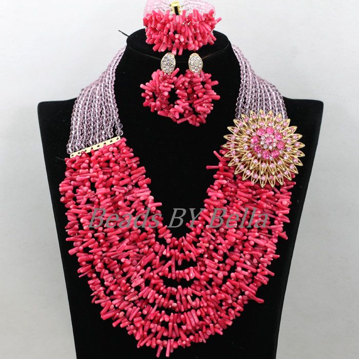 Statement Necklace Nigerian Beads For Women Jewelry Wedding Beads African Costume Pink Coral Beads Set New Free Shipping ABK114 new fashion nigerian african wedding coral beads jewelry set chunky statement necklace set full beads free shipping cnr345