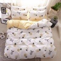 Pineapple Bedding Set Printed Fruit Cool Feel Bedsheet Soft 100% Polyester fiber Duvet Cover Set 4pcs King Queen Size bed sets