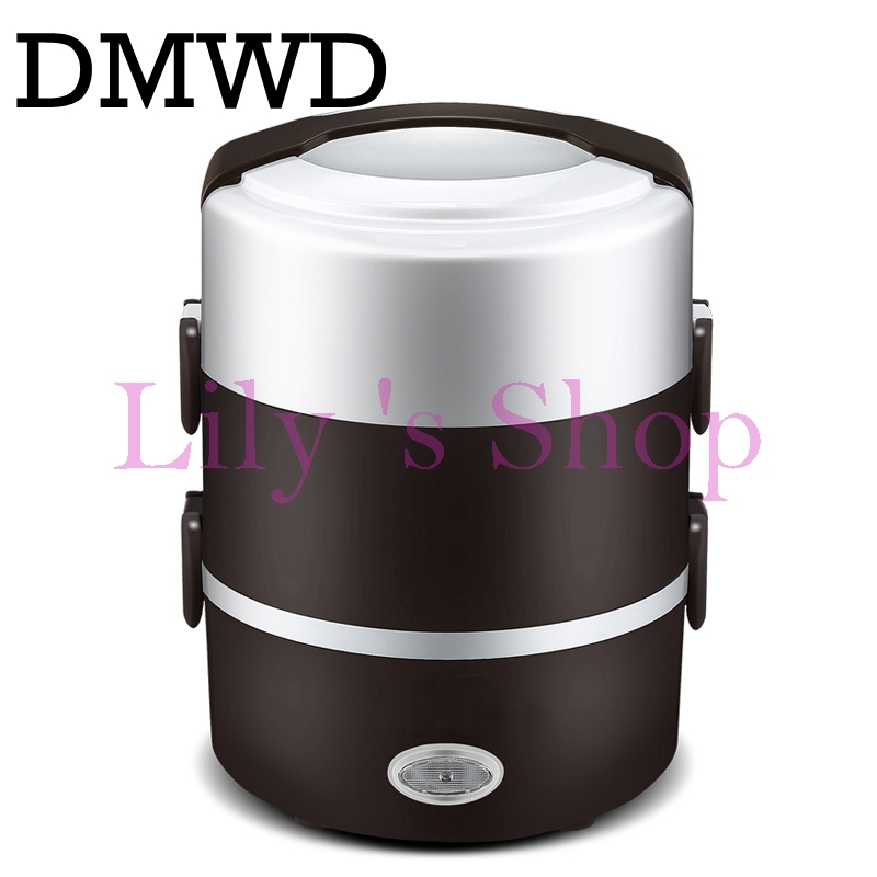 2L Portable electric insulation heating lunch box Electric Rice Cooker Stainless Steel 3 Layers Steamer Picnic Food Container three layers 2 2l electric lunch box stainless steel plug in insulation heating lunch box cooking high capacity mini cooker