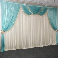 Luxury ice silk chiffon fabric wedding stage backdrop swags with tassels drape curtain for wedding party birthday decoration