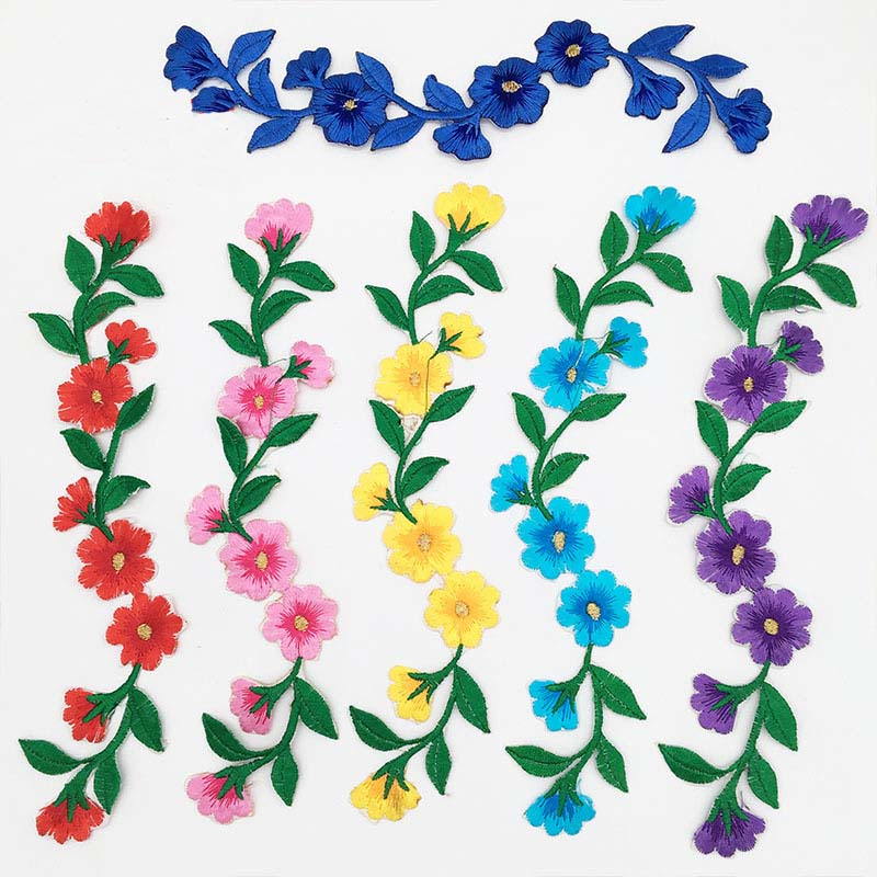 Embroidered Applique Flower Multiple Colors craft Iron On!