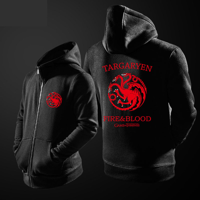 Game Of Thrones Hoodie House Targaryen Dragon Sweatshirt House Stark Wolf  Cloth Black Hooded Zip Hoodies