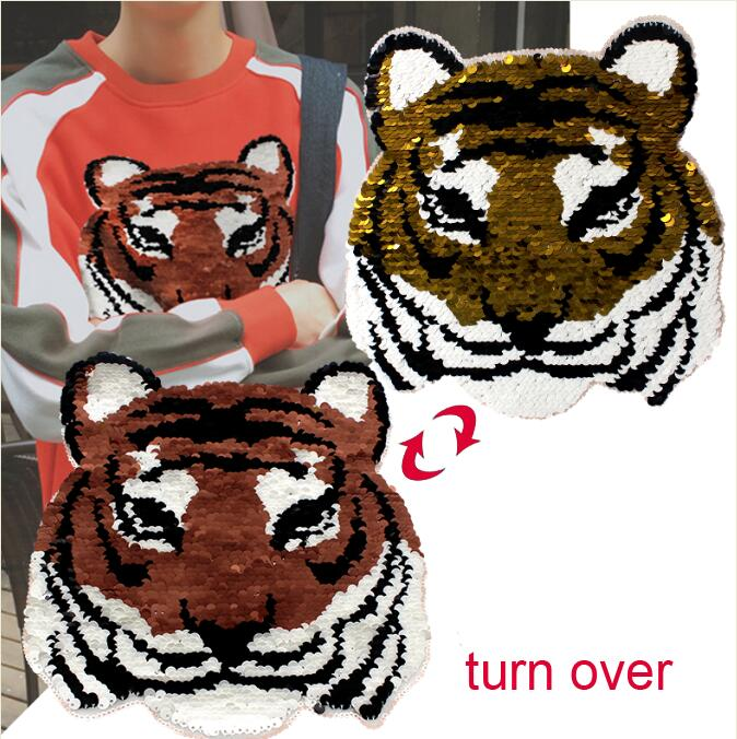 5pcs/lot NEW Sequin Tiger Reversible Change Color Paillette Embroidered Sew On Patch for For Cloth Garment Applique DIY Accessor