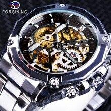 Forsining 2018 Sport Clock Golden Gear Movement Luminous Skeleton Mens Automatic Wrist Watches Top Brand Luxury Silver Strap